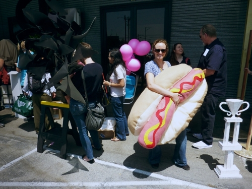 Hot dog in line to install at Bergamot Station, Santa Monica
